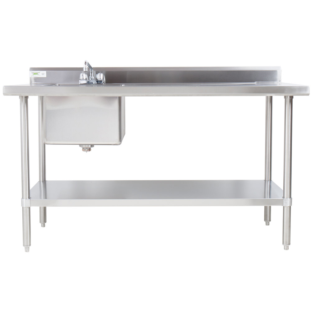 Sink on Left Regency 30 inch x 72 inch 16 Gauge Stainless Steel Work Table with Sink