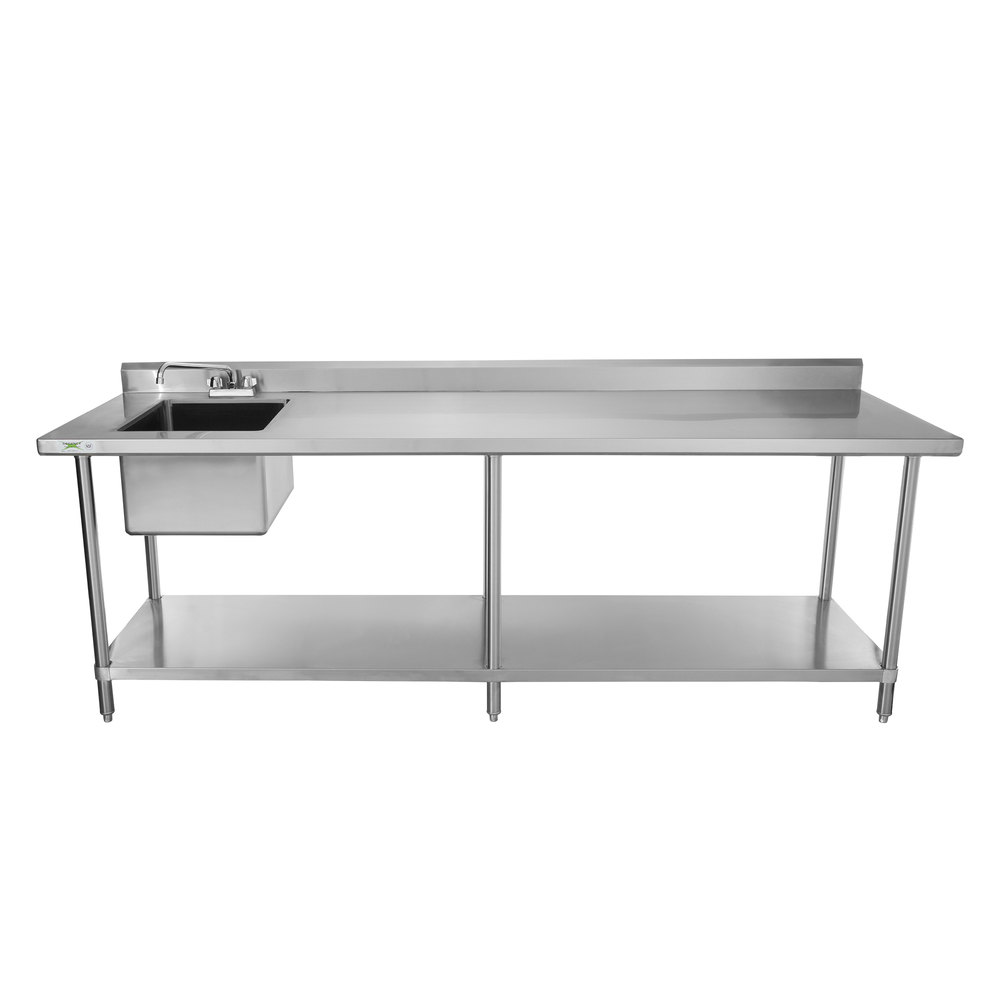 Sink on Left Regency 30 inch x 96 inch 16 Gauge Stainless Steel Work Table with Sink