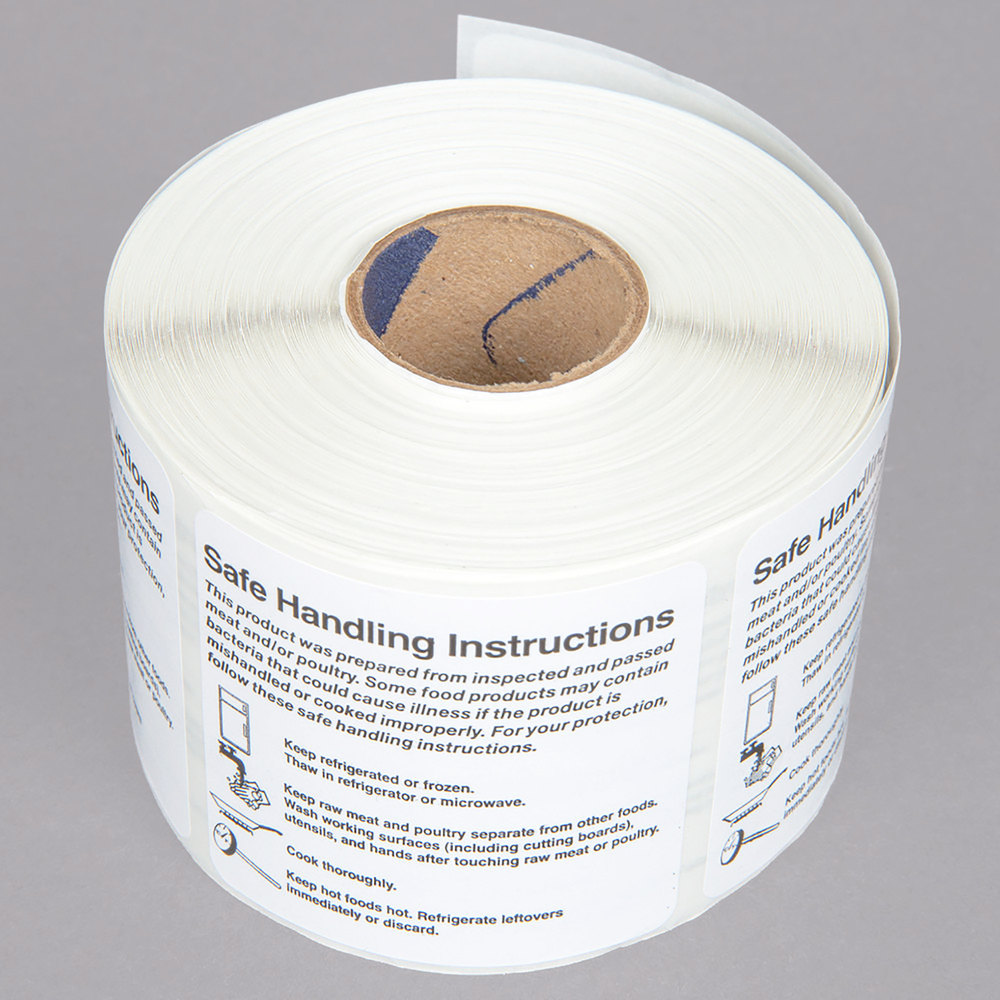 """Noble Products 2"""" X 2"""" Safe Food Handling Instructions"""