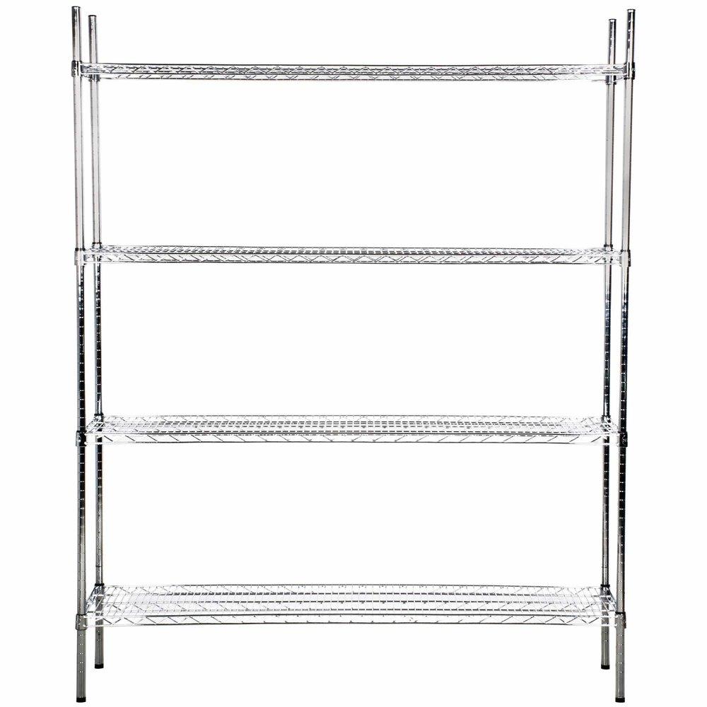 Regency 18 inch x 60 inch NSF Stainless Steel Shelf Kit with 74 inch Posts