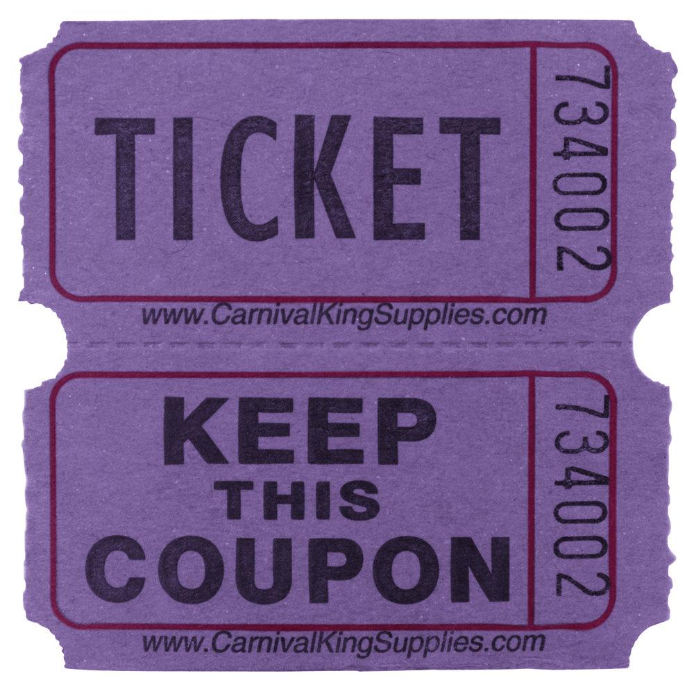 Carnival King Purple 2-Part Raffle Tickets  - 2000/Roll