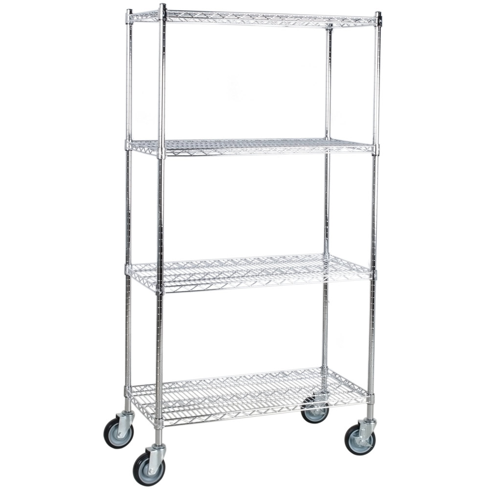 Regency 18 inch x 36 inch NSF Stainless Steel 4-Shelf Kit with 64 inch Posts and Casters