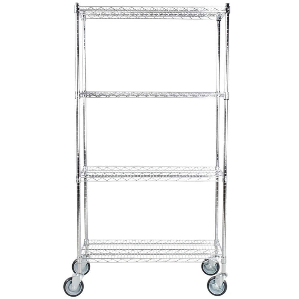 Regency 18 inch x 36 inch NSF Stainless Steel Shelf Kit with 64 inch Posts and Casters