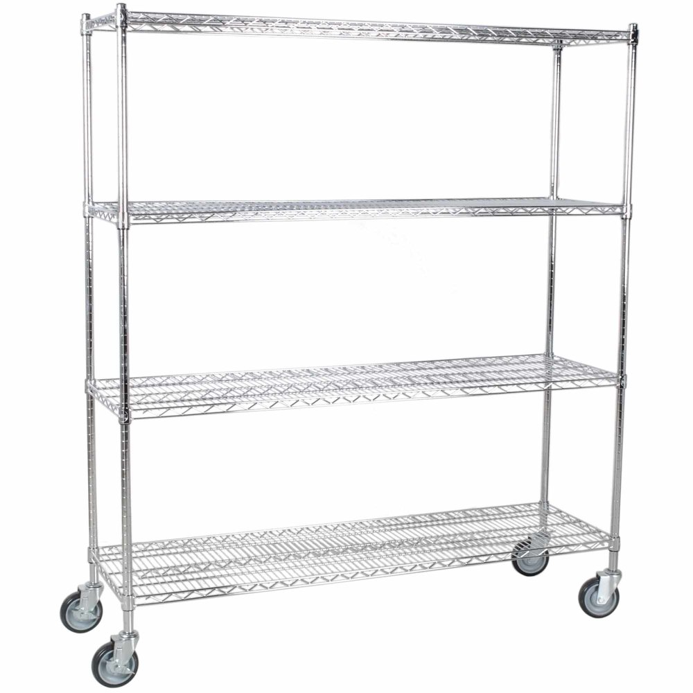 Regency 18 inch x 60 inch NSF Stainless Steel Shelf Kit with 64 inch Posts and Casters