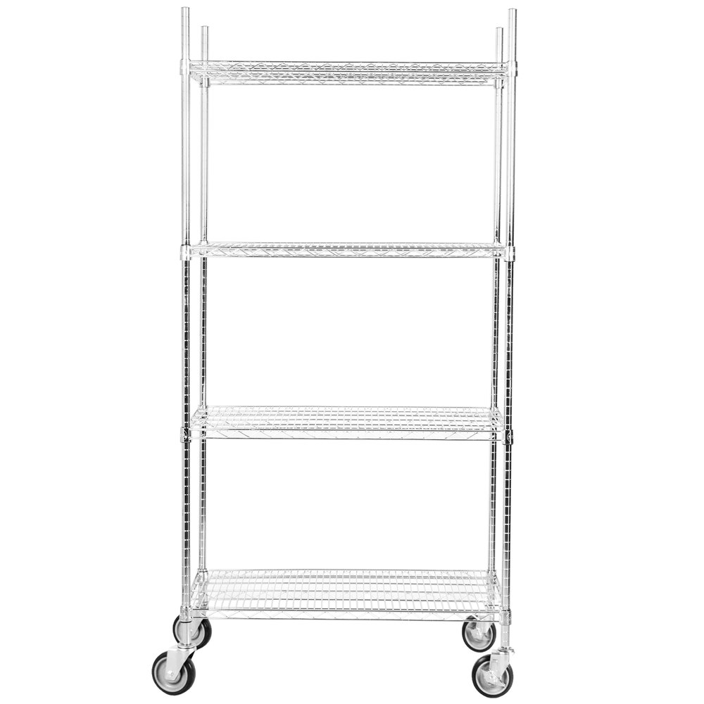 Regency 24 inch x 36 inch NSF Stainless Steel Shelf Kit with 64 inch Posts and Casters