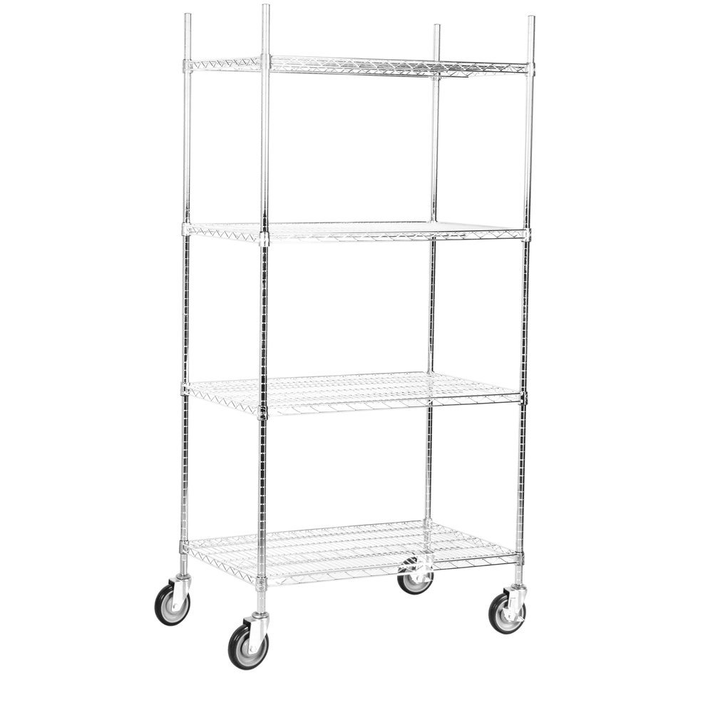 Regency 24 inch x 36 inch NSF Stainless Steel 4-Shelf Kit with 64 inch Posts and Casters