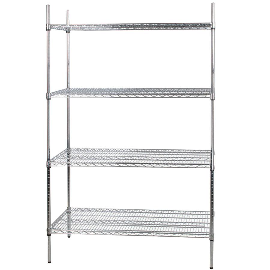 Regency 24 inch x 48 inch NSF Stainless Steel Shelf Kit with 74 inch Posts