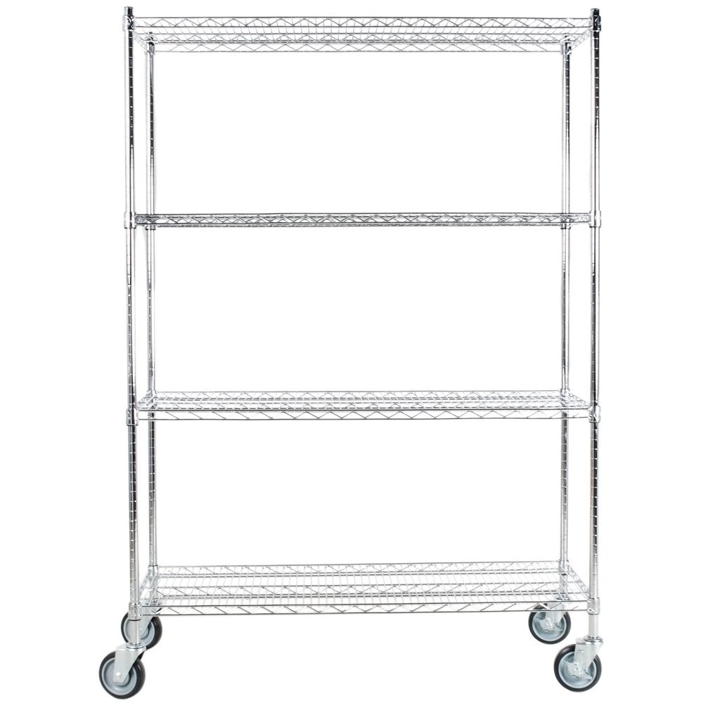 Regency 18 inch x 48 inch NSF Stainless Steel Shelf Kit with 64 inch Posts and Casters