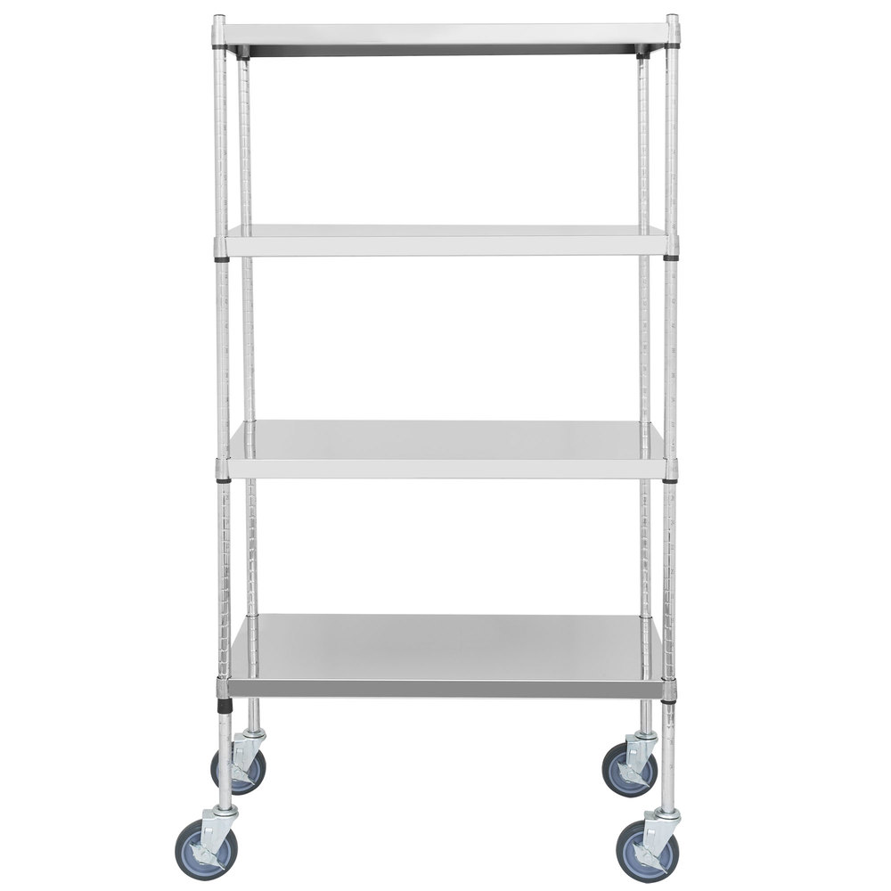 Regency 24 inch x 36 inch NSF Stainless Steel Solid Mobile Shelf Kit with 64 inch Posts