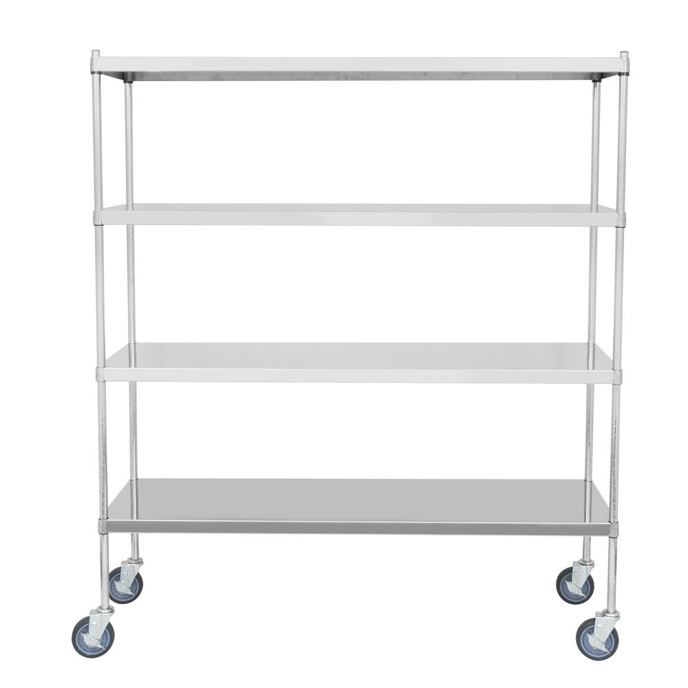 Regency 18 inch x 60 inch NSF Stainless Steel Solid Mobile Shelf Kit with 64 inch Posts