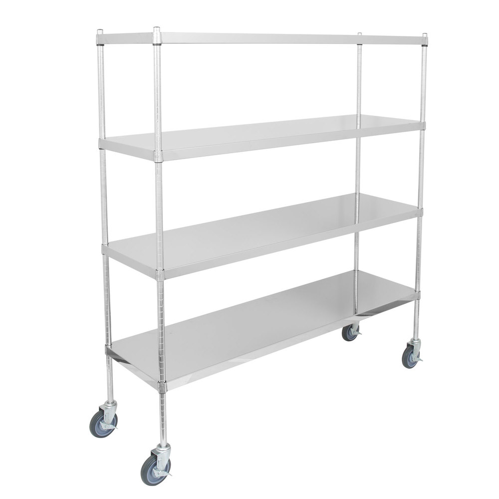Regency 18 inch x 60 inch NSF Stainless Steel Solid Mobile 4-Shelf Kit with 64 inch Posts