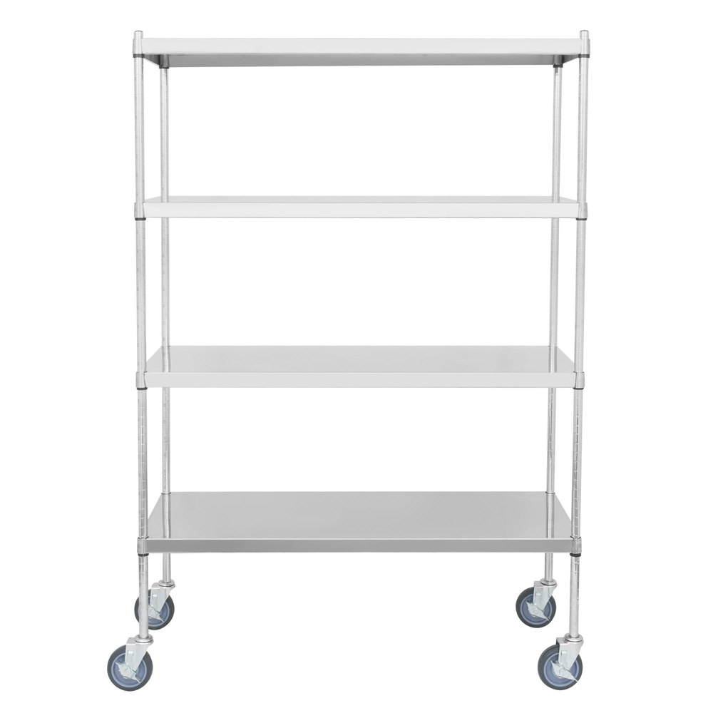 Regency 18 inch x 48 inch NSF Stainless Steel Solid Mobile Shelf Kit with 64 inch Posts