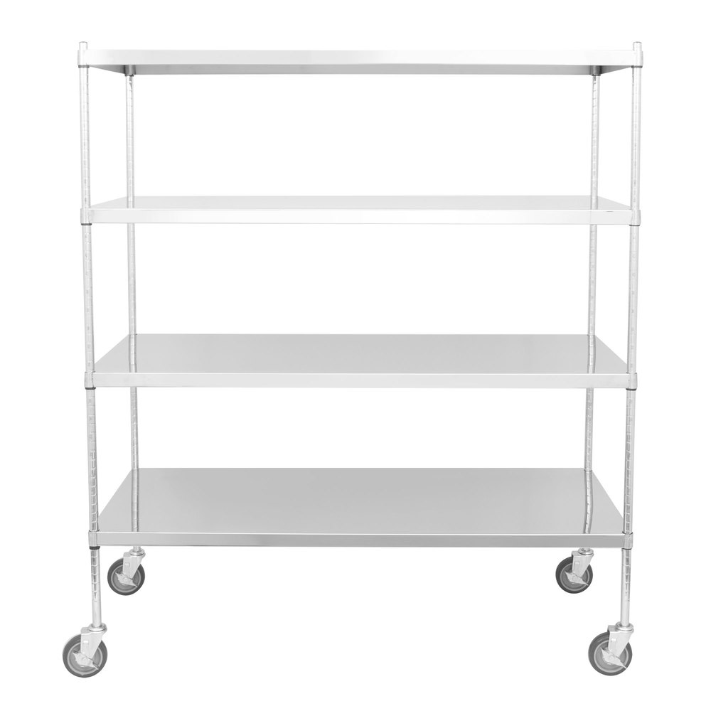 Regency 24 inch x 60 inch NSF Stainless Steel Solid Mobile Shelf Kit with 64 inch Posts