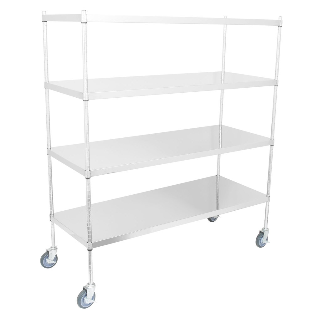 Regency 24 inch x 60 inch NSF Stainless Steel Solid Mobile 4-Shelf Kit with 64 inch Posts