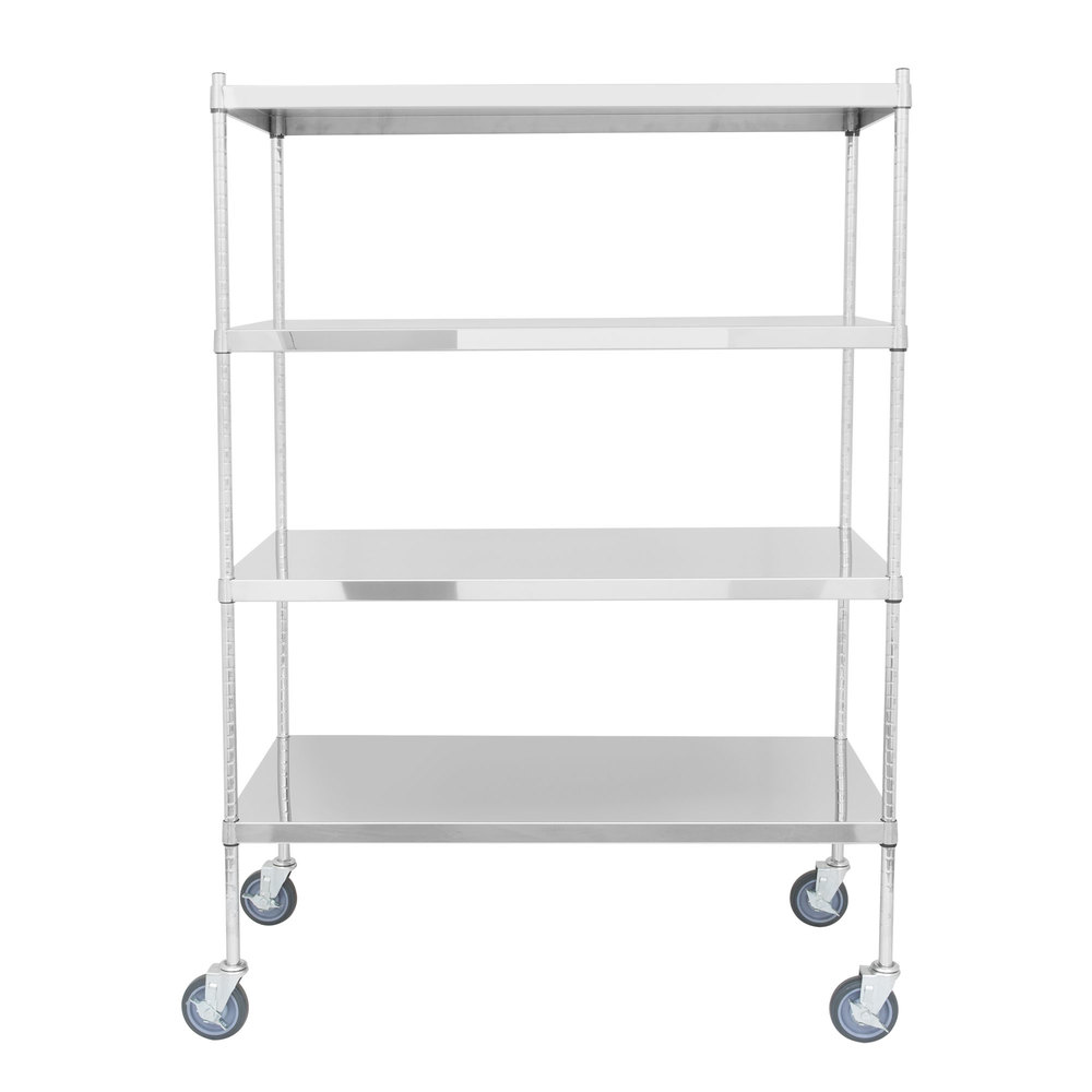 Regency 24 inch x 48 inch NSF Stainless Steel Solid Mobile Shelf Kit with 64 inch Posts
