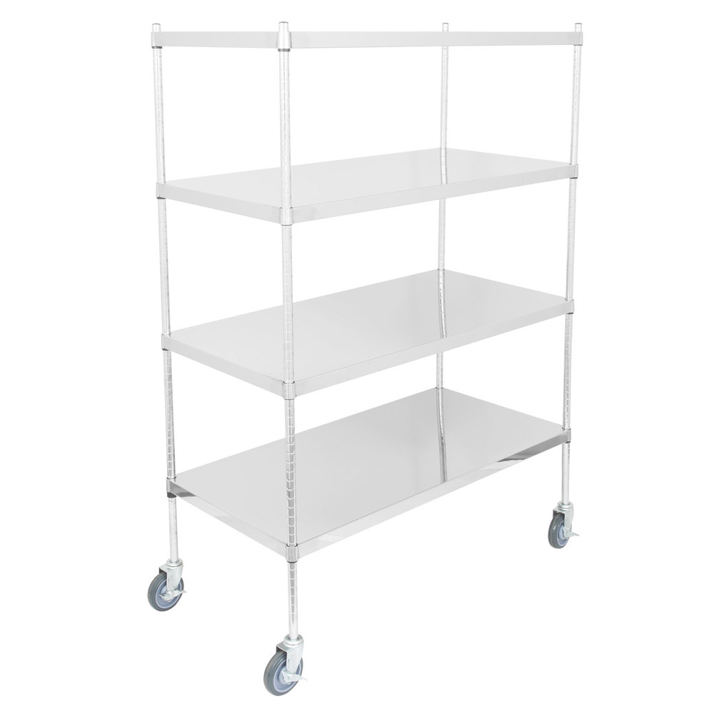 silver shelving unit with four solid shelves and casters