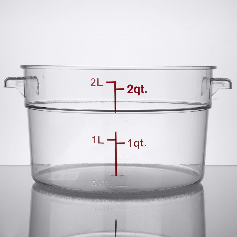 Food storage container with graduations and measurements