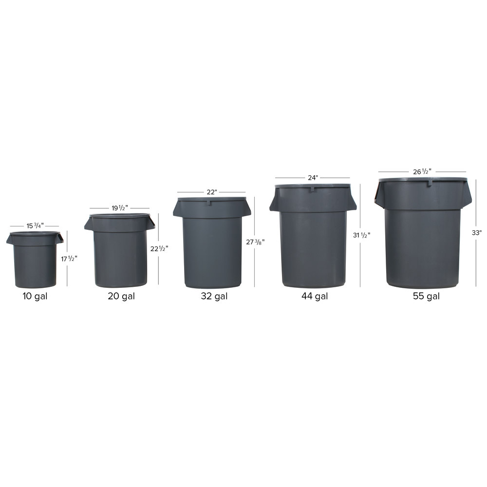 Continental 32tuffgy 32 Gallon Gray Black Trash Can