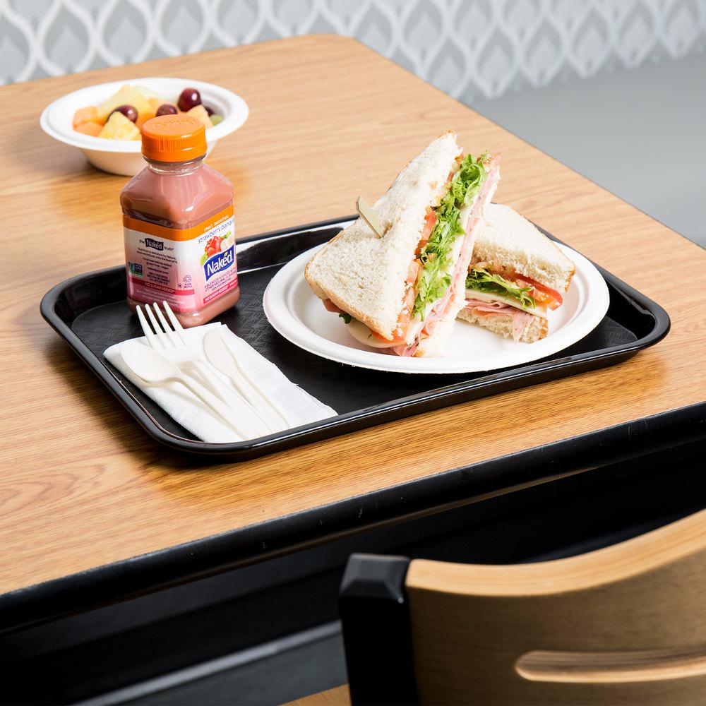 "Choice 10"" X 14"" Black Plastic Fast Food Tray"