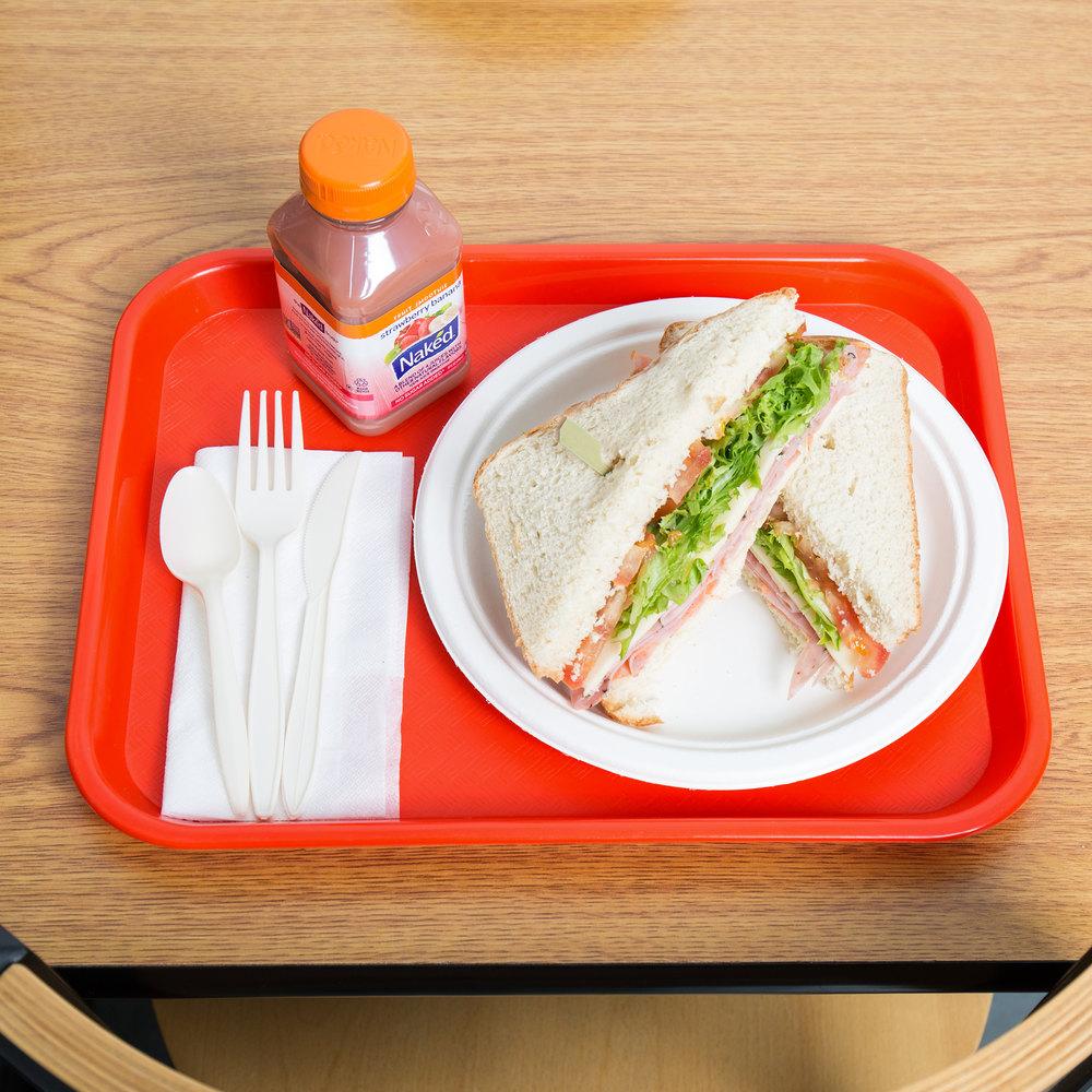 "Choice 10"" X 14"" Orange Plastic Fast Food Tray"