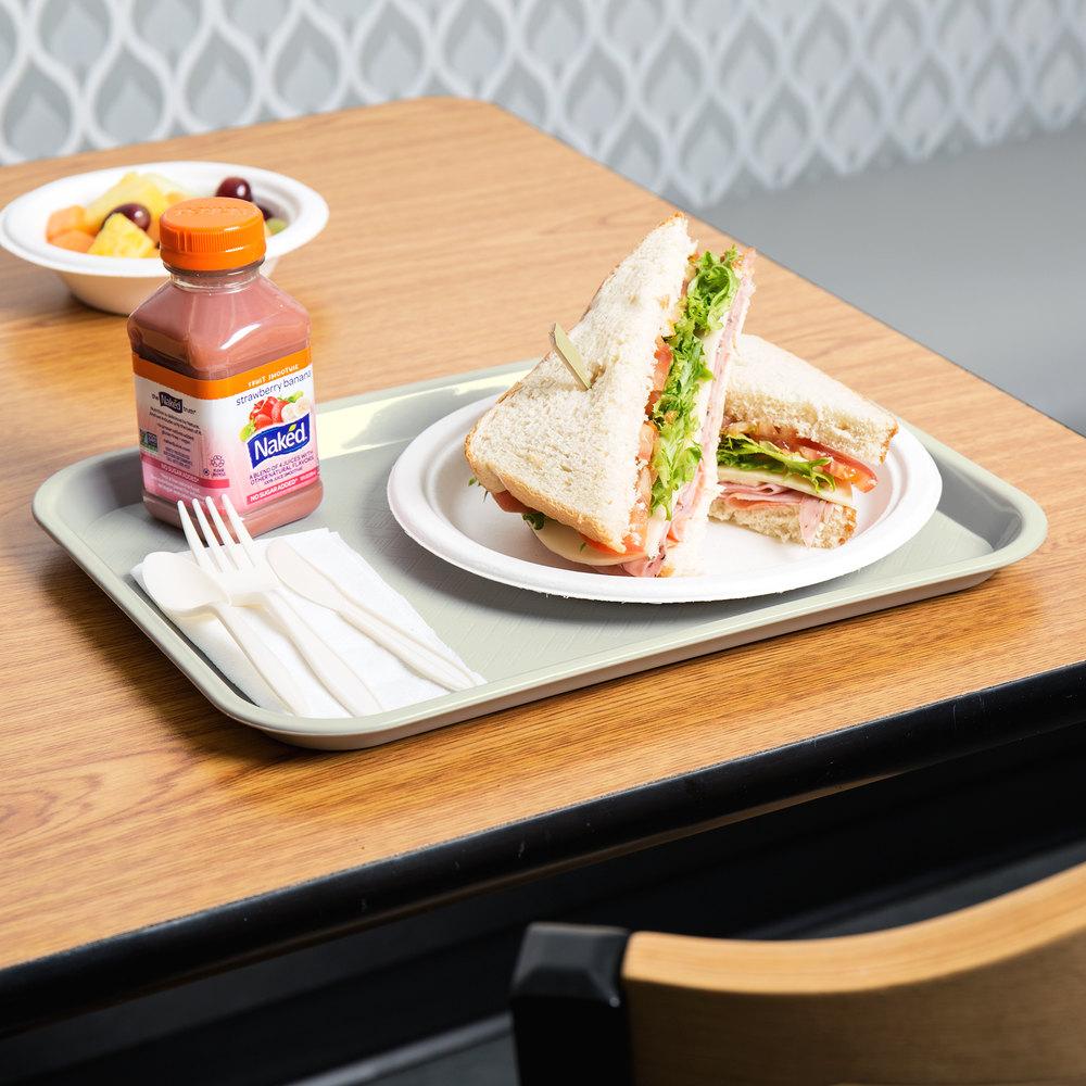 "Choice 10"" X 14"" Gray Plastic Fast Food Tray"