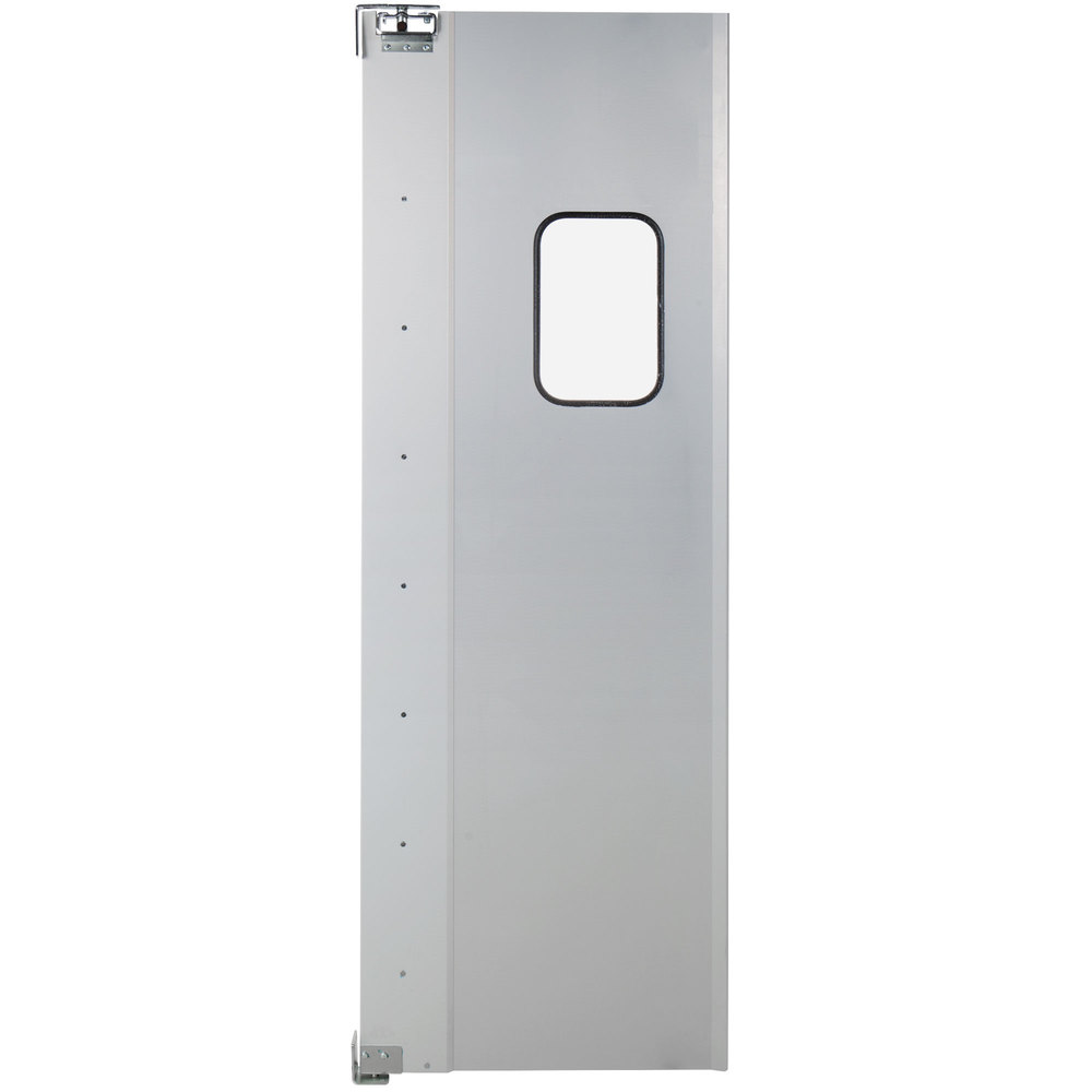 Regency Single Aluminum Swinging Traffic Door with 9 inch x 14 inch Window - 30 inch x 84 inch Door Opening