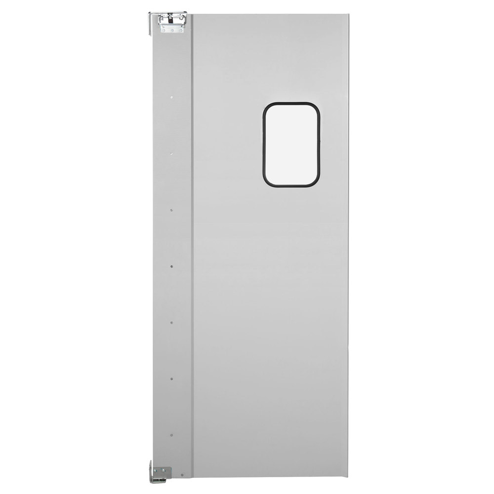 Regency Single Aluminum Swinging Traffic Door with 9 inch x 14 inch Window - 36 inch x 84 inch Door Opening