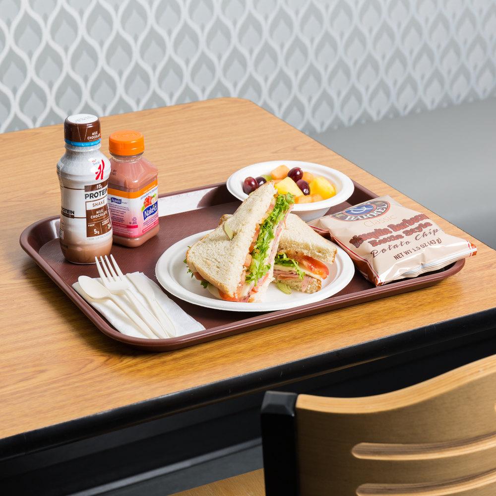 "Choice 14"" X 18"" Burgundy Plastic Fast Food Tray"