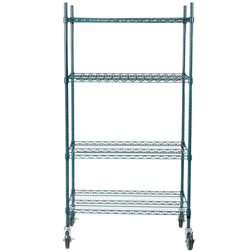Regency 18 inch x 36 inch NSF Green Epoxy Shelf Kit with 64 inch Posts and Casters