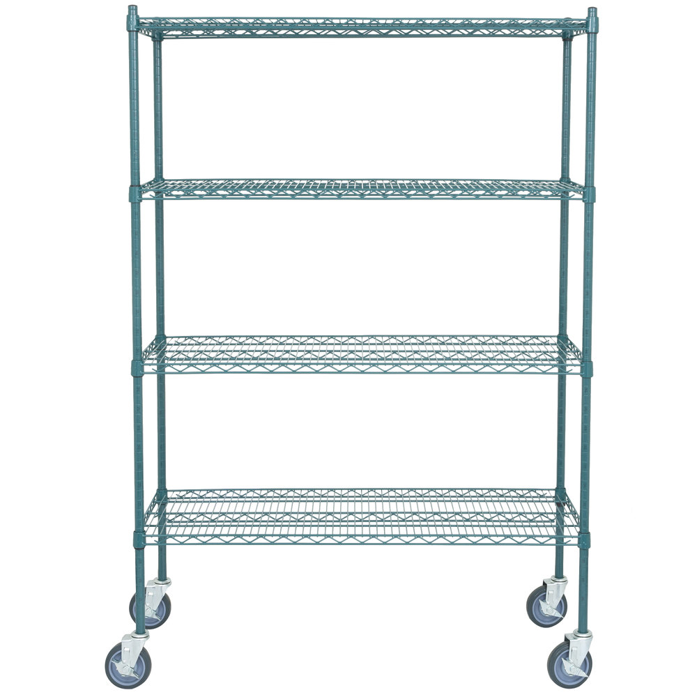 Regency 18 inch x 48 inch NSF Green Epoxy Shelf Kit with 64 inch Posts and Casters