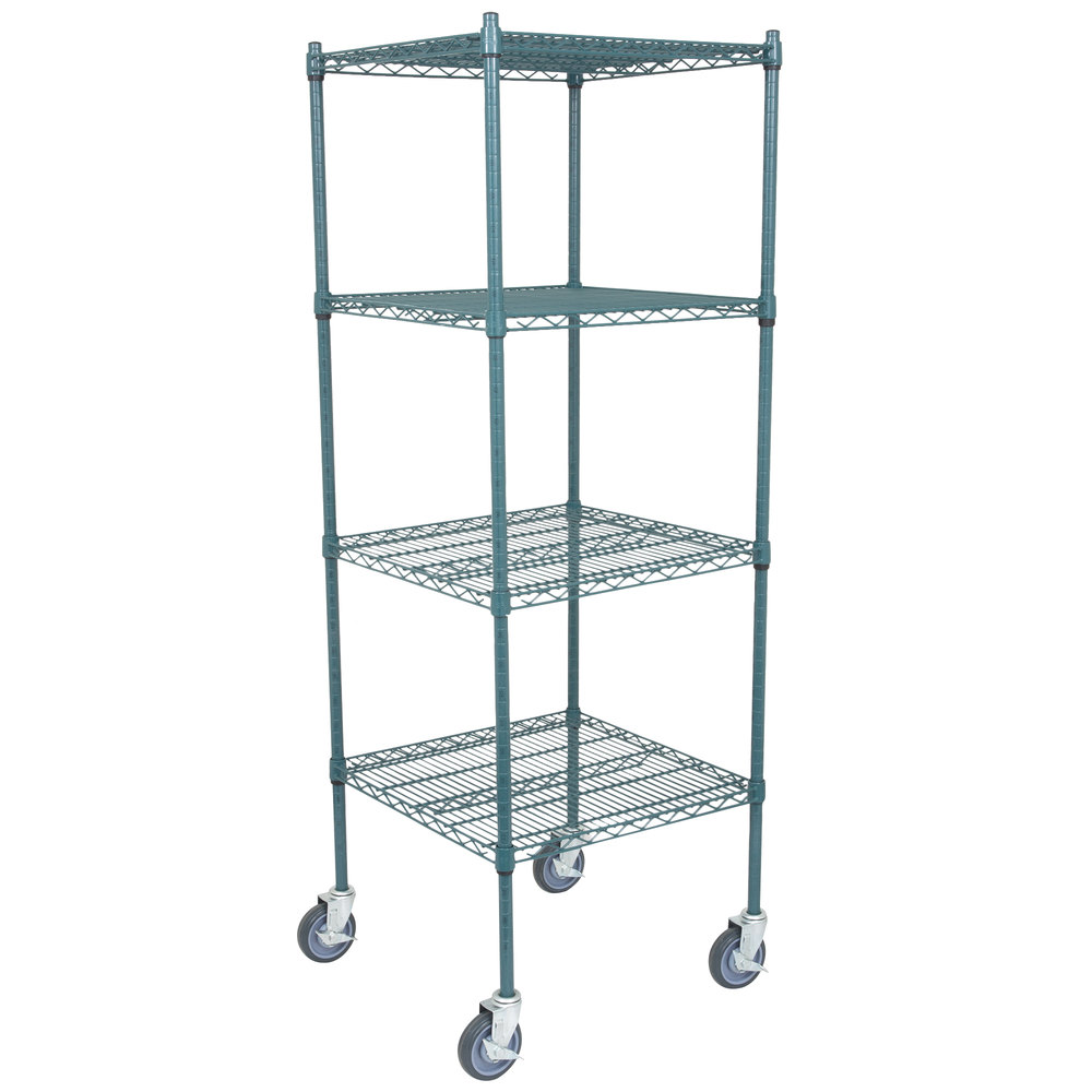 Regency 24 inch x 24 inch NSF Green Epoxy Shelf Kit with 64 inch Posts and Casters