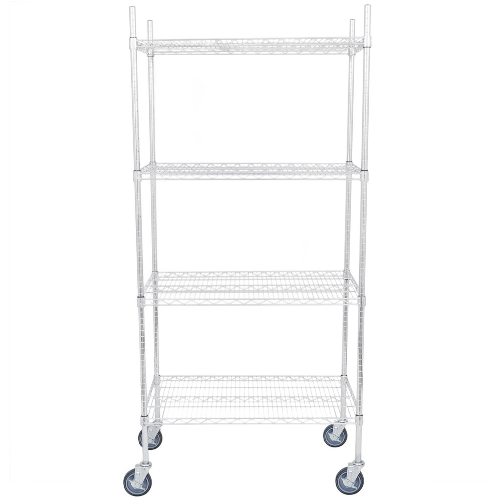 Regency 21 inch x 36 inch NSF Chrome Shelf Kit with 64 inch Posts and Casters