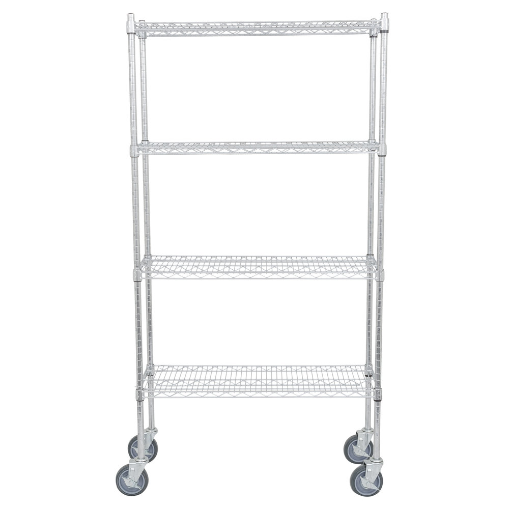 Regency 14 inch x 36 inch NSF Chrome Shelf Kit with 64 inch Posts and Casters