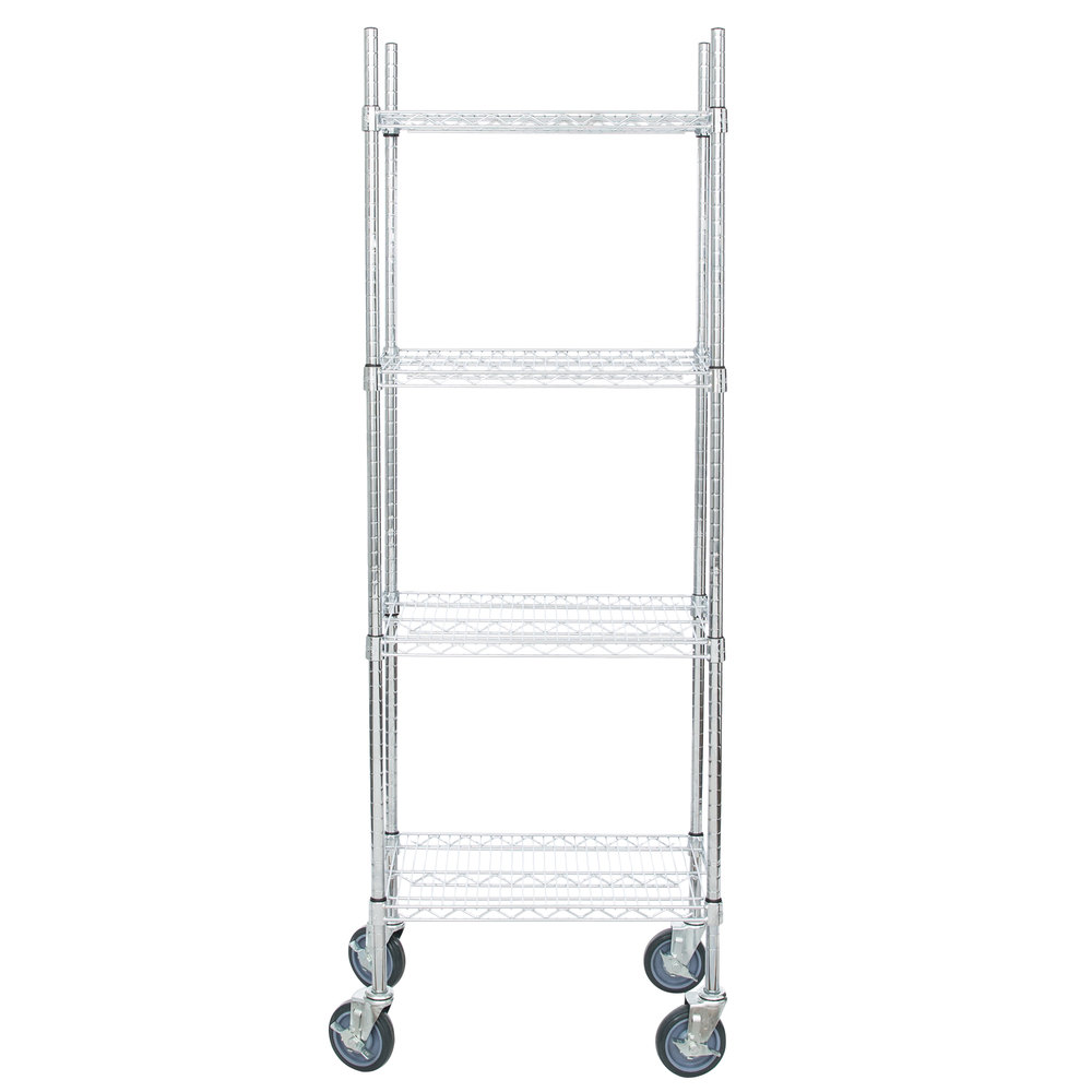 Regency 14 inch x 24 inch NSF Chrome Shelf Kit with 64 inch Posts and Casters