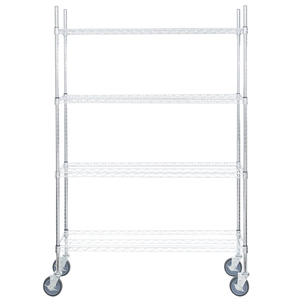 Regency 14 inch x 48 inch NSF Chrome Shelf Kit with 64 inch Posts and Casters