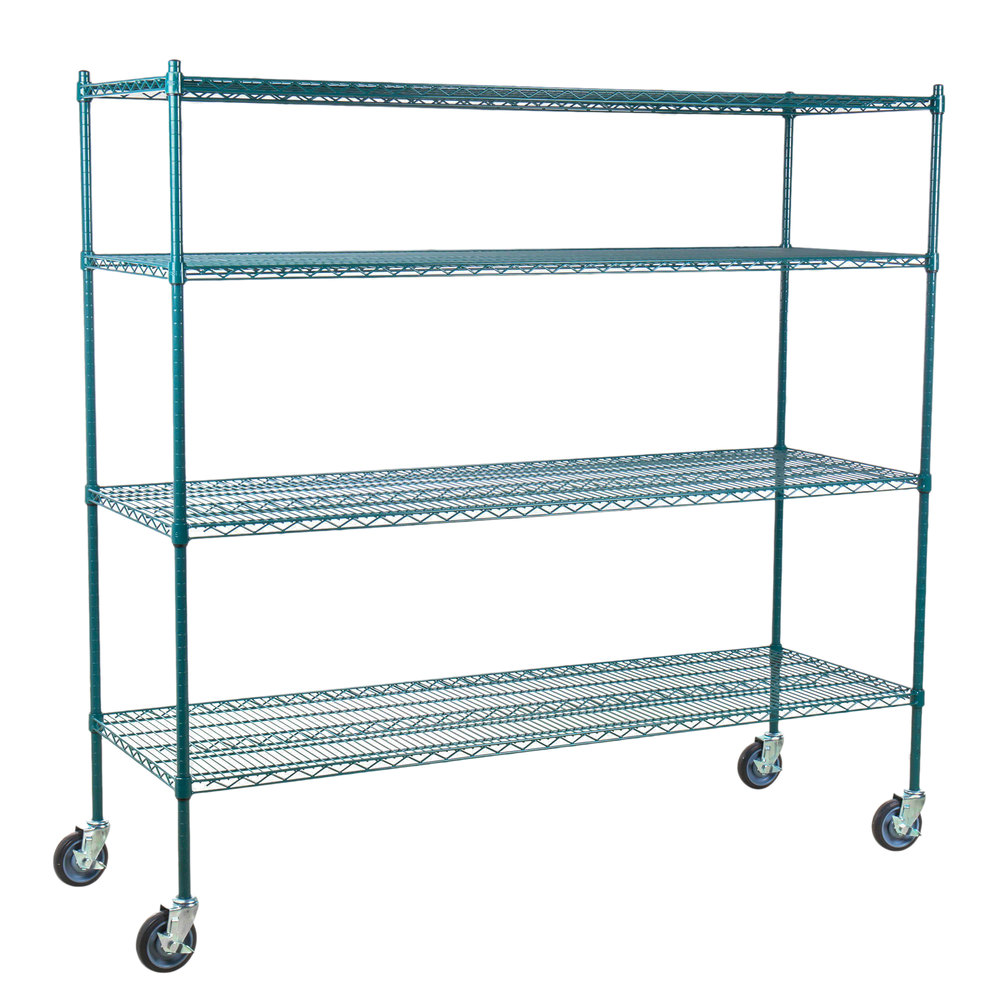 Regency 24 inch x 72 inch NSF Green Epoxy Shelf Kit with 64 inch Posts and Casters