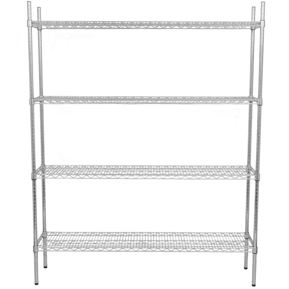 Regency 14 inch x 60 inch NSF Chrome Shelf Kit with 74 inch Posts