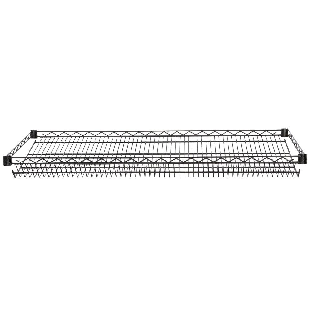 Regency 18 inch x 48 inch NSF Black Epoxy Slanted Wire Shelf
