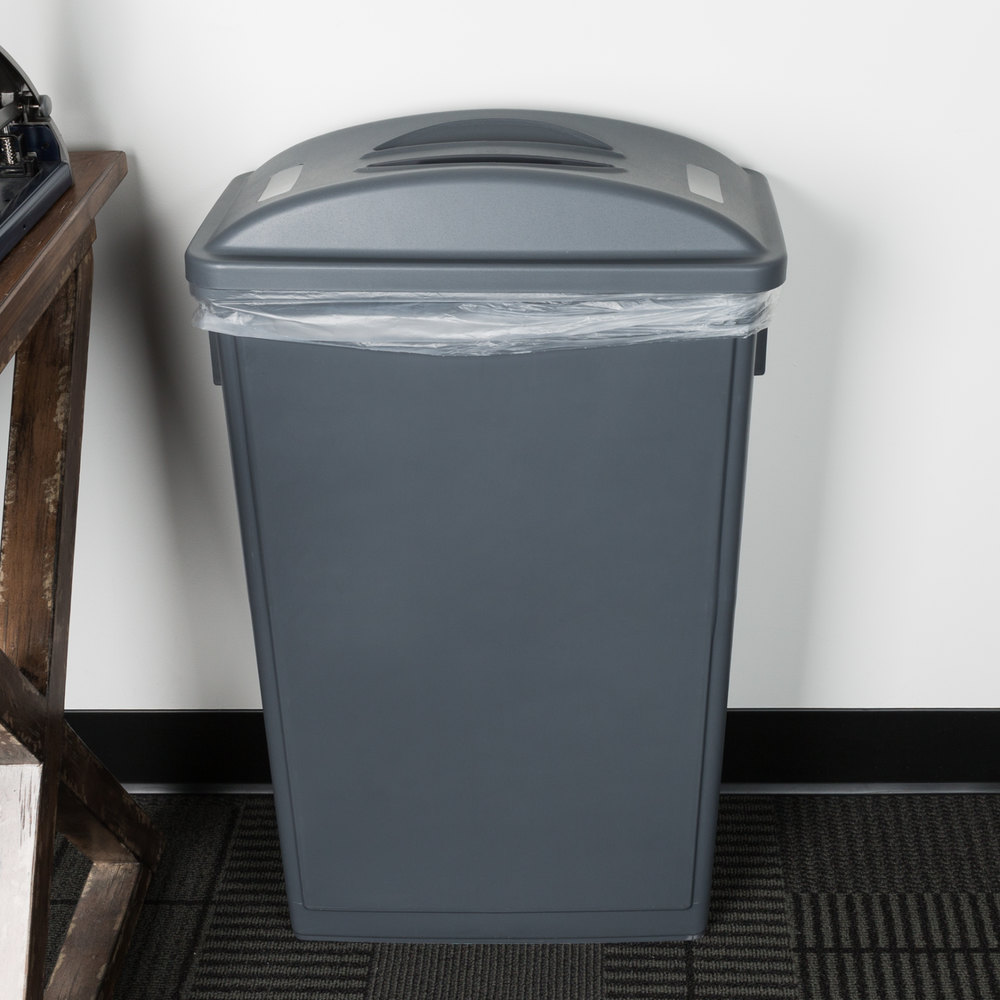 lavex janitorial gray slim trash can flat lid with handle. Black Bedroom Furniture Sets. Home Design Ideas