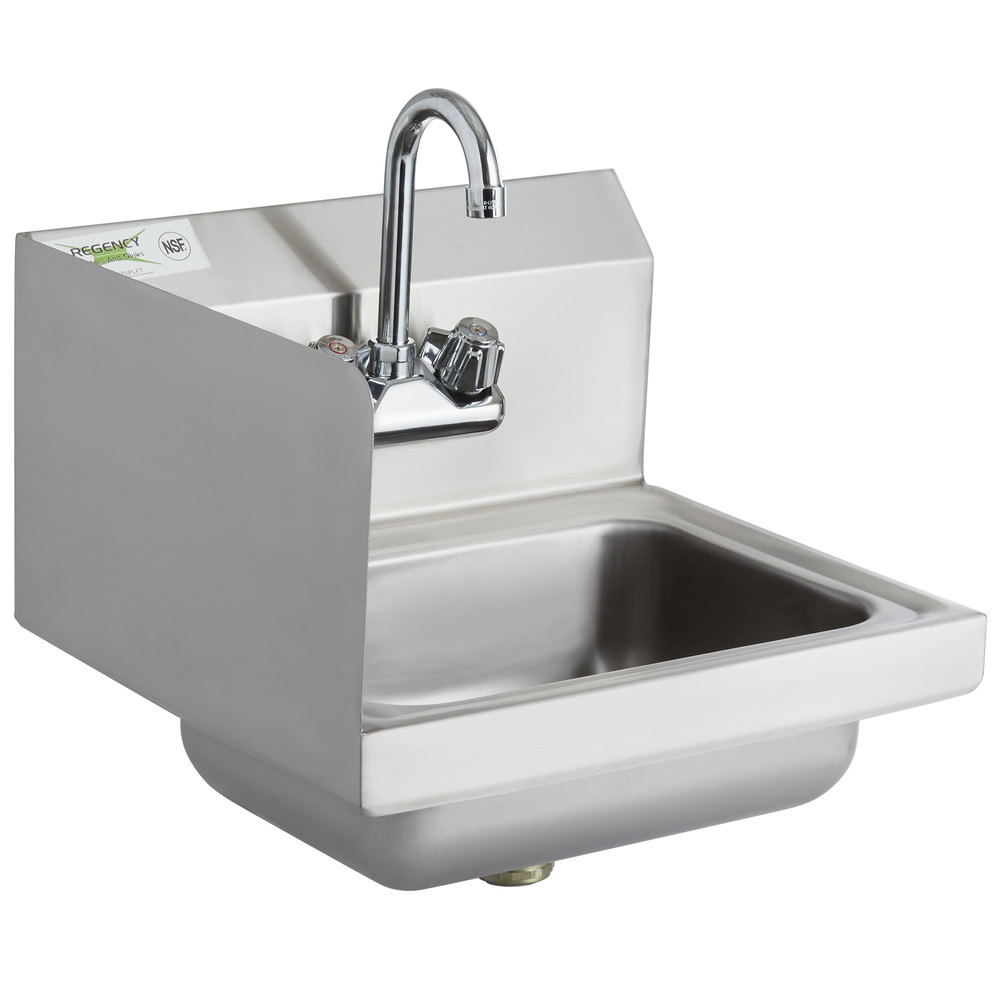 Regency 17 inch x 15 inch Wall Mounted Hand Sink with Gooseneck Faucet and Left Side Splash