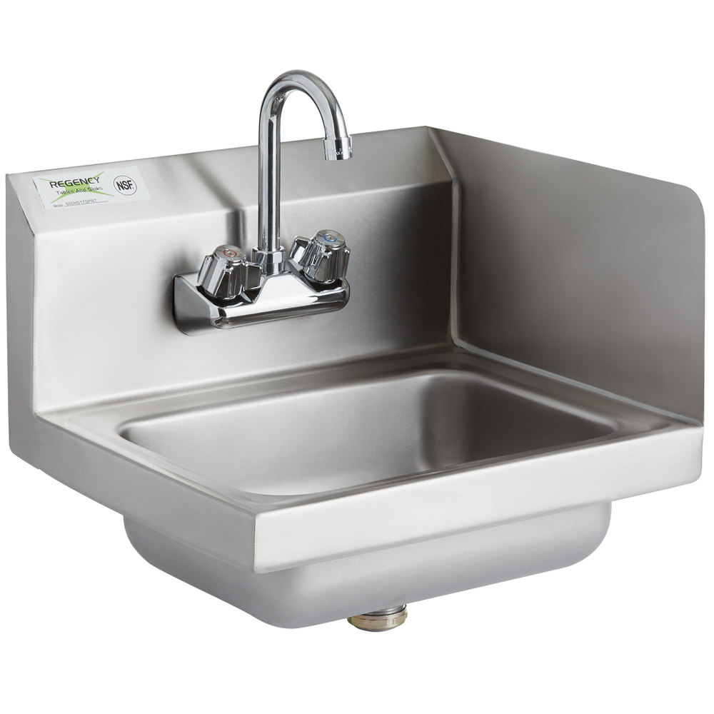 Regency 17 inch x 15 inch Wall Mounted Hand Sink with Gooseneck Faucet and Right Side Splash