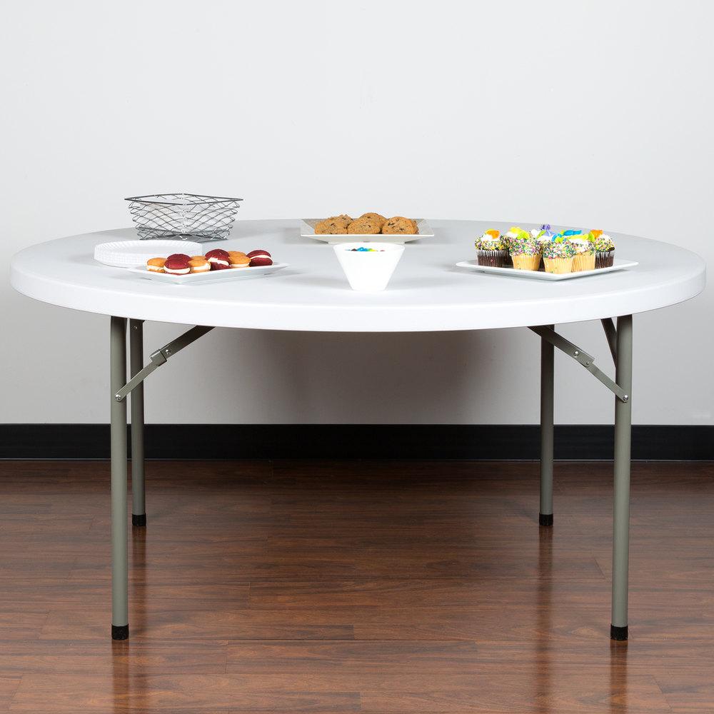 Round Folding Table 60 Quot Heavy Duty Plastic White Granite