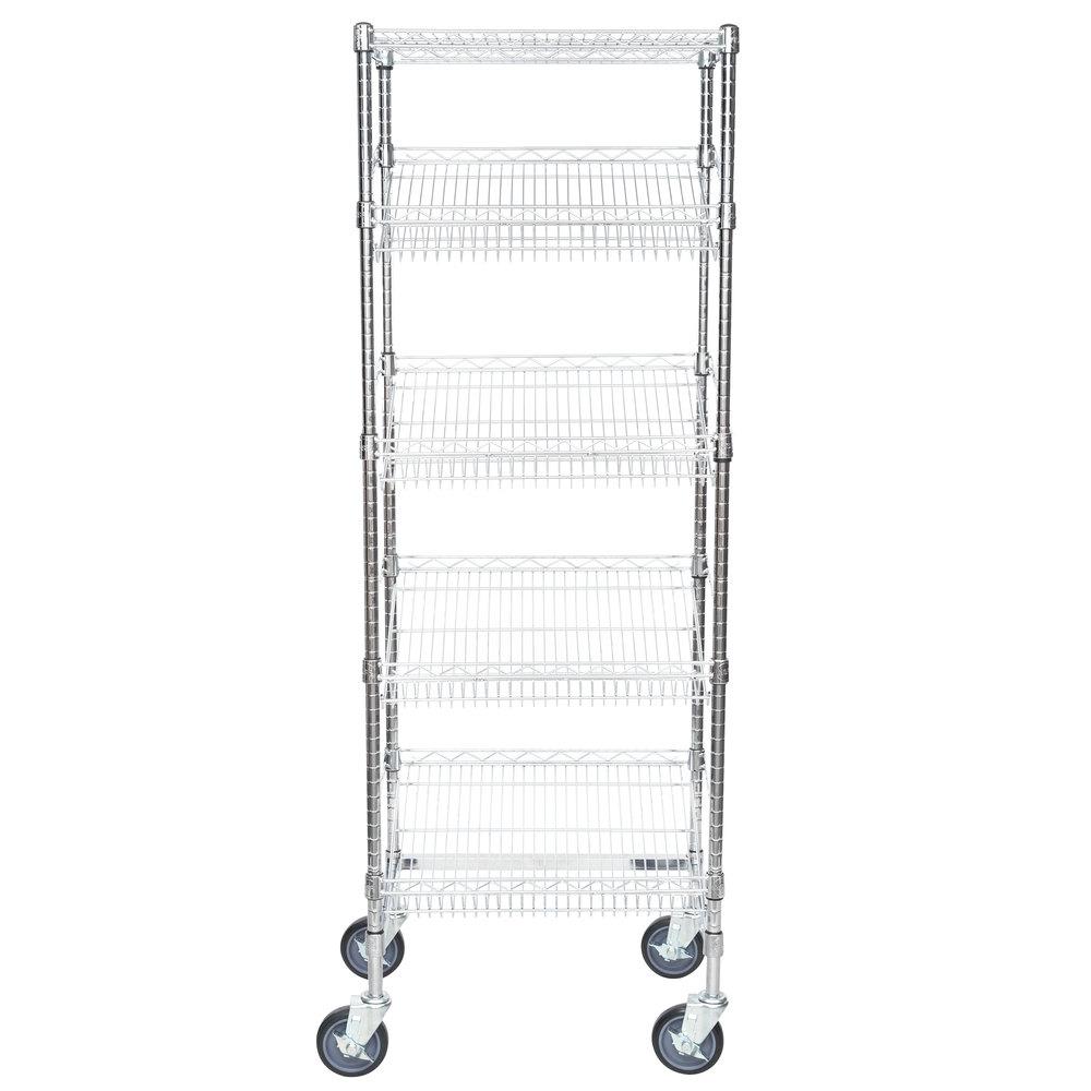 Regency Chrome 5-Shelf Angled Mobile Merchandising Rack - 18 inch x 24 inch x 69 inch