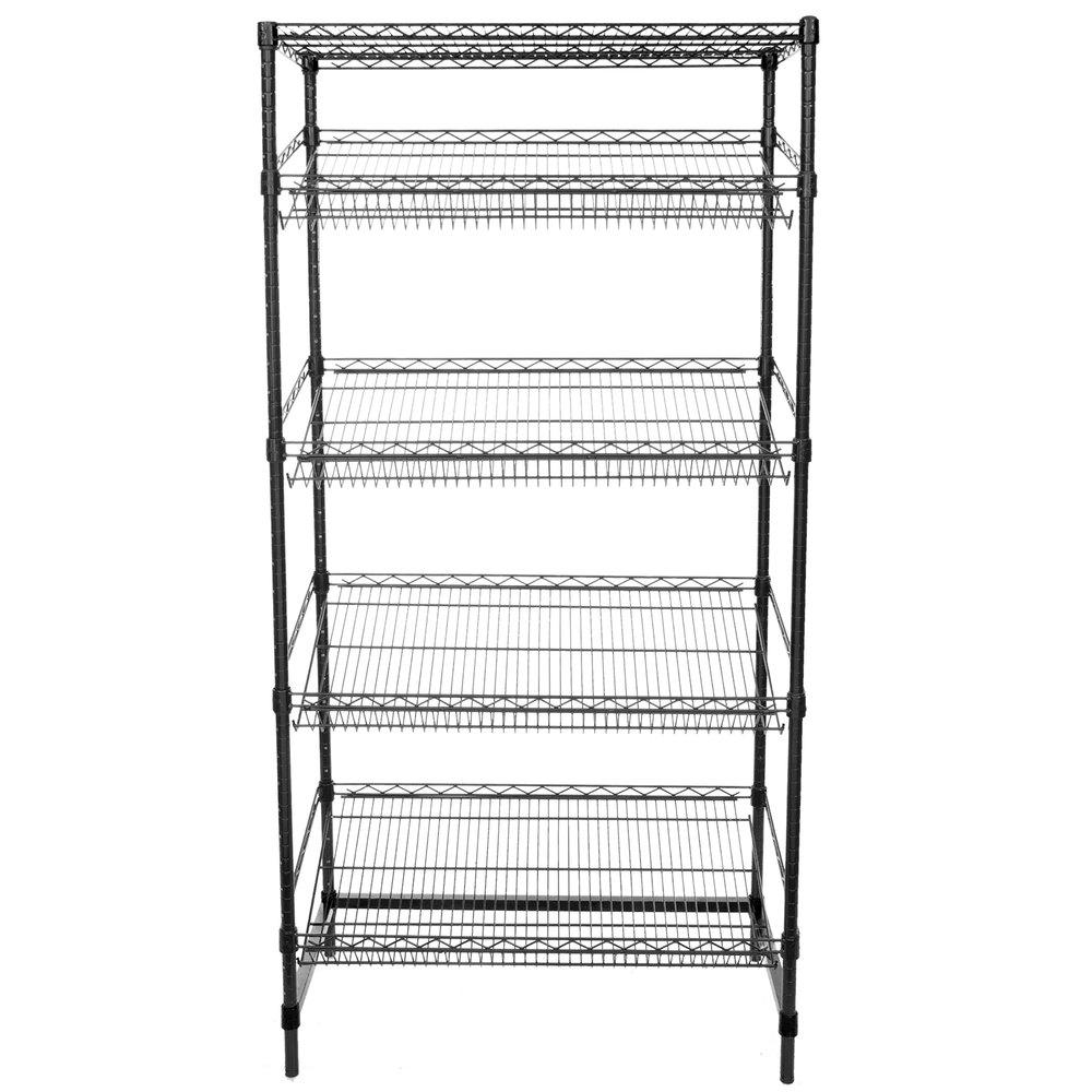 Regency Black Epoxy 5-Shelf Angled Stationary Merchandising Rack - 18 inch x 36 inch x 74 inch