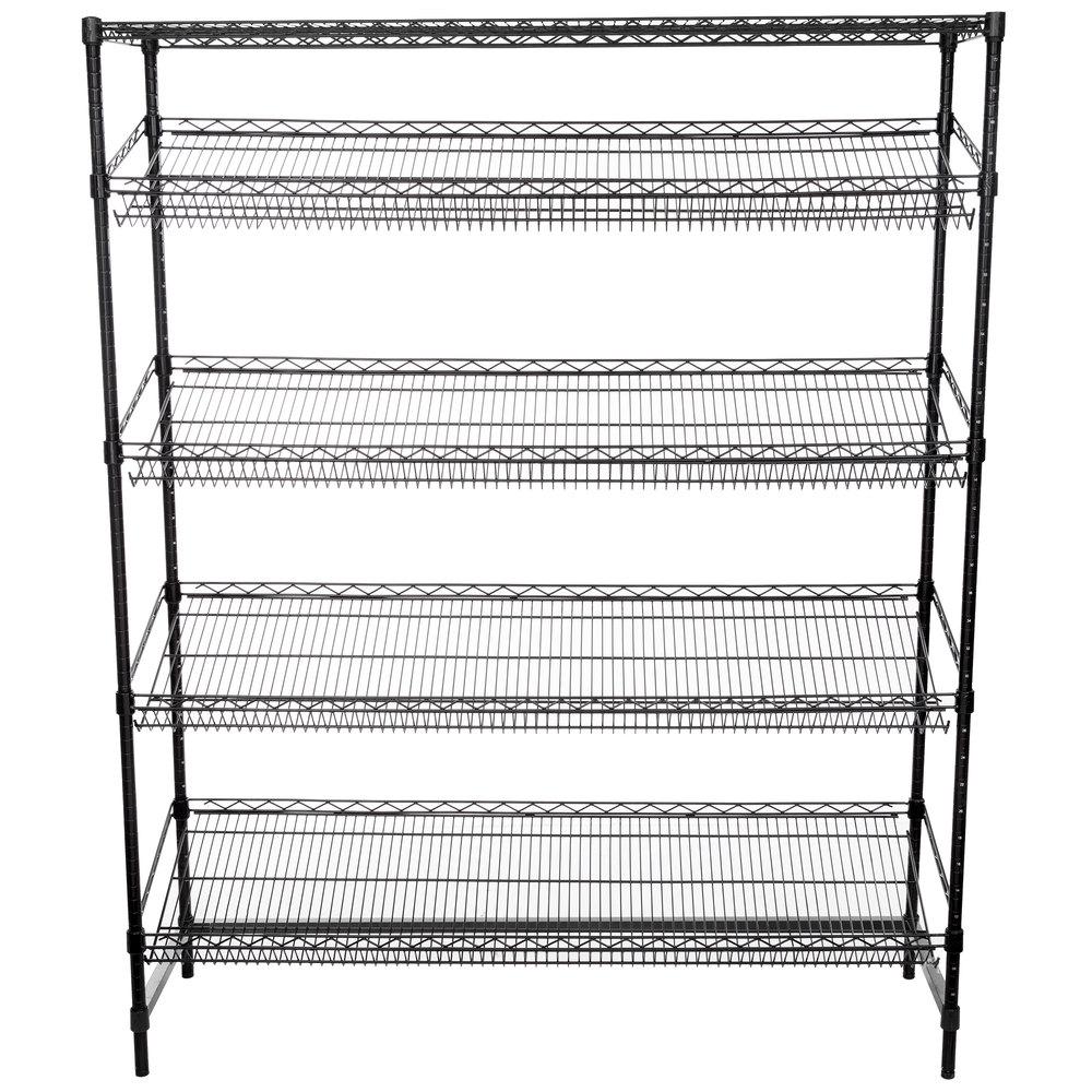 Regency Black Epoxy 5-Shelf Angled Stationary Merchandising Rack - 18 inch x 60 inch x 74 inch