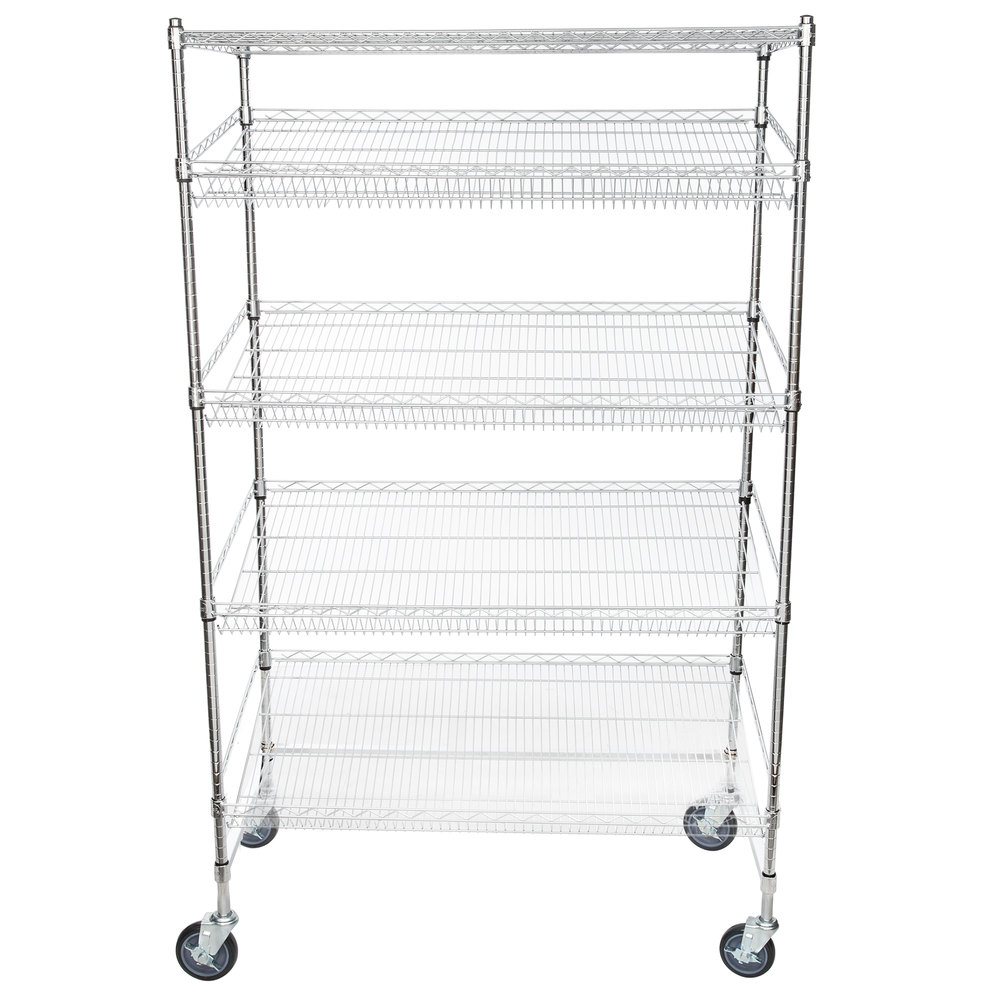 Regency Chrome 5-Shelf Angled Mobile Merchandising Rack - 24 inch x 48 inch x 69 inch