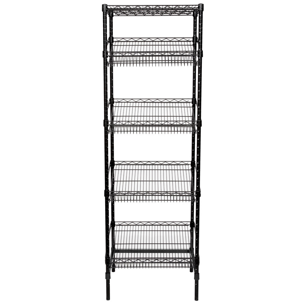 Regency Black Epoxy 5-Shelf Angled Stationary Merchandising Rack - 18 inch x 24 inch x 74 inch