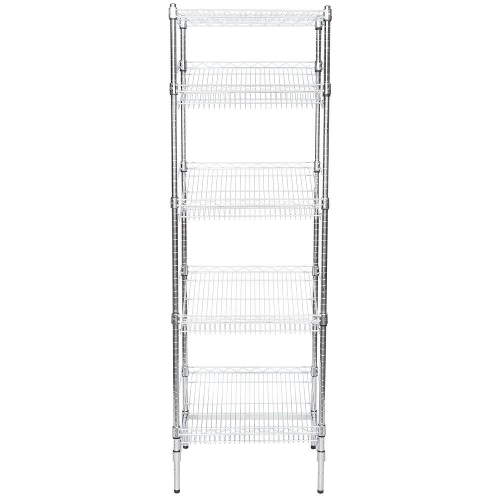 Regency Chrome 5-Shelf Angled Stationary Merchandising Rack - 18 inch x 24 inch x 74 inch