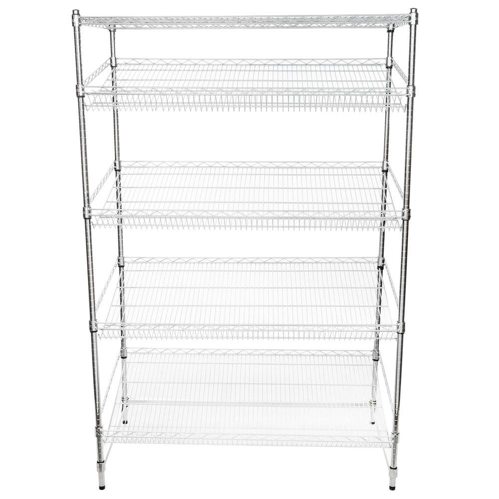 Regency Chrome 5-Shelf Angled Stationary Merchandising Rack - 24 inch x 48 inch x 74 inch