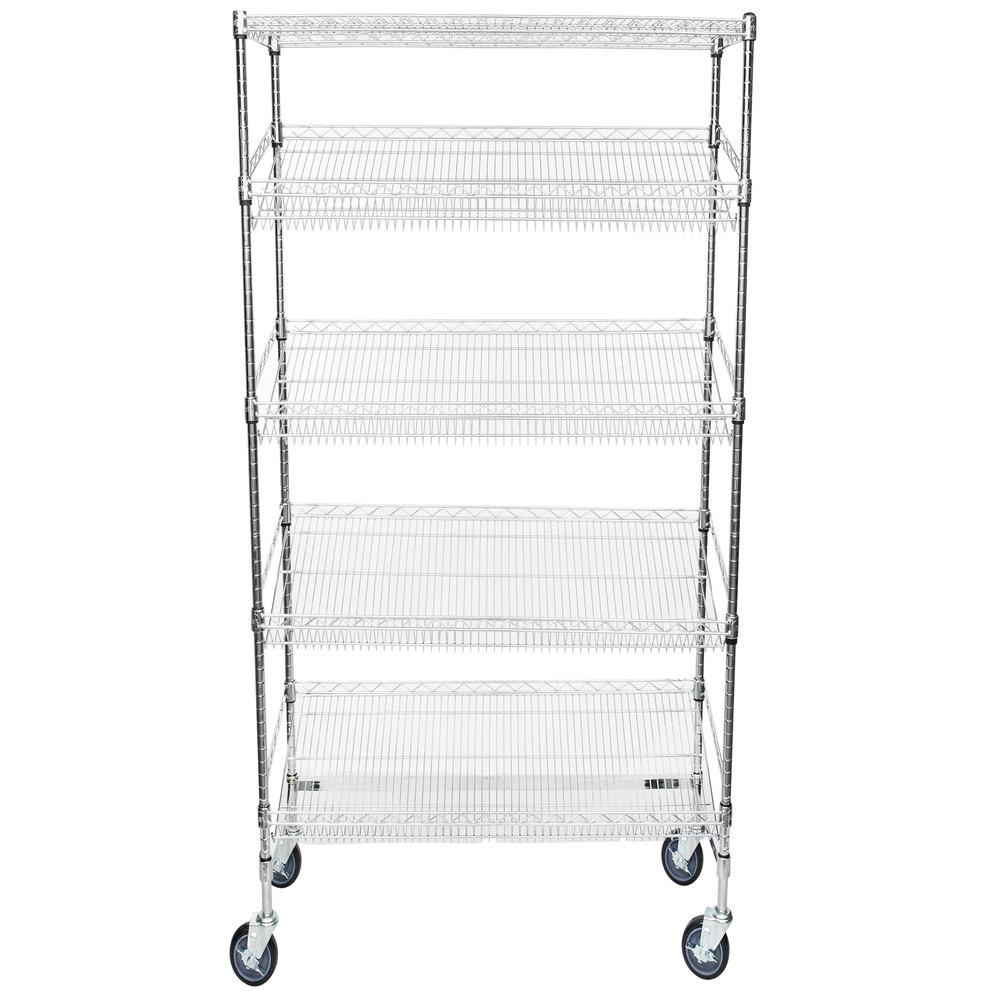 Regency Chrome 5-Shelf Angled Mobile Merchandising Rack - 18 inch x 36 inch x 69 inch